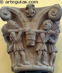 Capitel románico con hombres trabajando