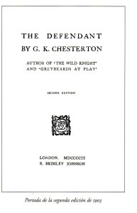 Portada de 'The Defendant', de Chesterton, en la edición de 1903