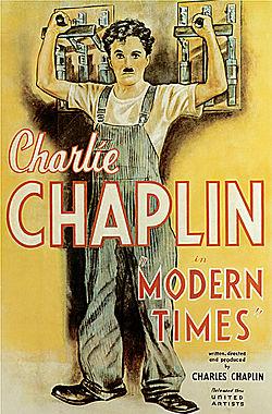 Cartel de 'Tiempos modernos', de Chaplin. Wikipedia.