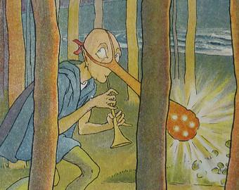 Chesterton pone como ejemplo de poema absurdo 'El Dong de la nariz luminosa', de Edward Lear. Ilustración de Leslie Brook en Etsy.com