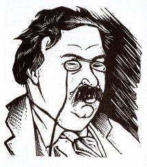 Magnífico huecograbado de E.C Ricart, realizado con ocasión de una de las estancias de GK en Cataluña. Recogido en 'Textos sobre G.K.Chesterton', Univ. Ramón Llull, 2005.