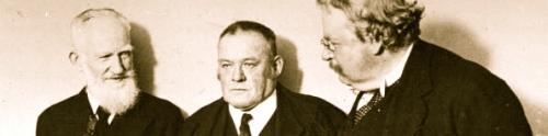 Shaw, Belloc -que actuó como moderador- y GK en 1923, antes de comenzar el debate '¿Estamos de acuerdo?'